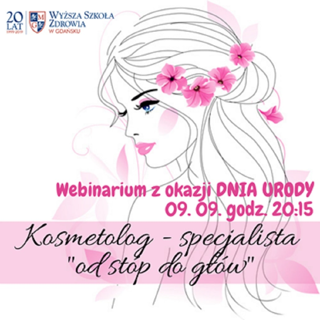 """Baner infomrujący o Webinarium """"Kosmetologia"""" WZS w Gdańsku"""