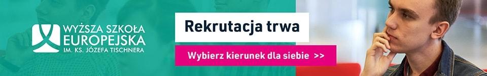 Baner informujący o rekrutacji 2020 w Wyższej Szkole Europejskiej w Krakowie
