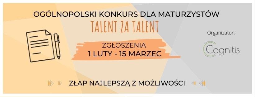 Grafika promująca Konkurs Talent za Talent 2020