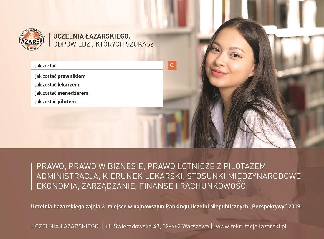 Baner Uniwersytetu Łazarskiego w Warszawie