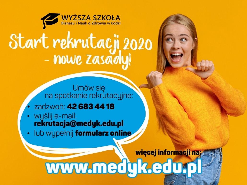 Baner informujący o rekrutacji 2020/2021 w Wyższej Szkole Biznesu i Nauk o Zdrowiu