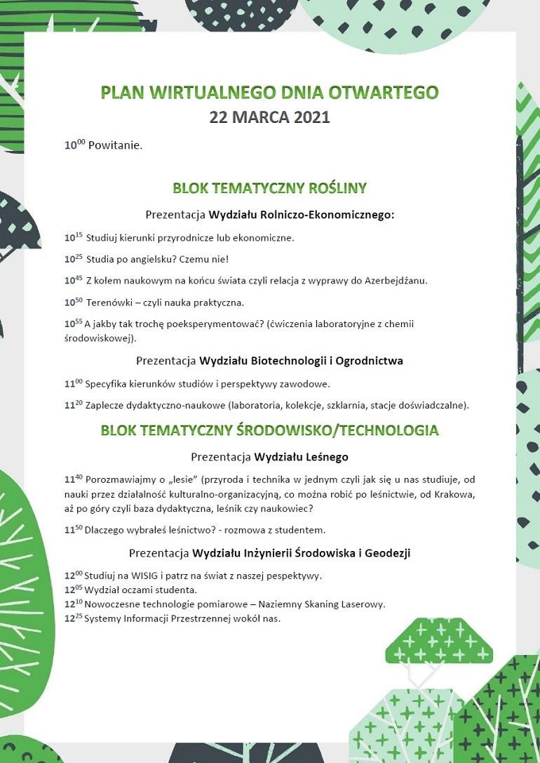 Pierwsza strona Harmonogramu Wirtualnego Dnia Otwartego Uniwersytetu Rolniczego w Krakowie