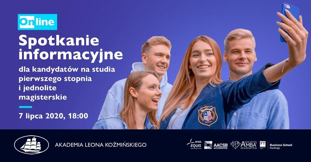 SPotkanie dla kandydatów na Studia w AKademii Leona Koźmińskiego 2020 baner