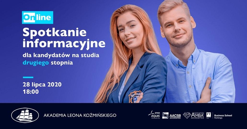 Baner informujący o spotkaniu online dla kandydatów na studia Lipiec 2020 w ALK