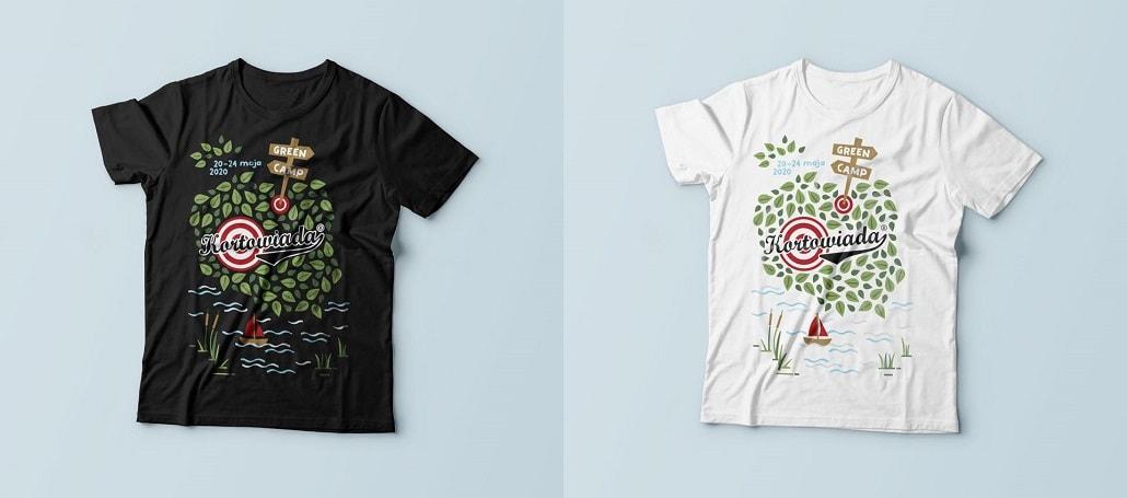 Koszulki festiwalowe Kortowaida 2020 w wersji białej i czarnej