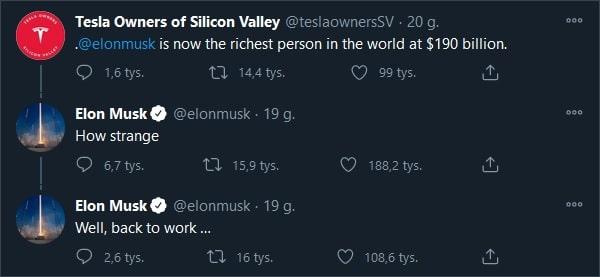 Reakcja Elona Muska na wieść o ty, że został najbogatszym człowiekiem świata