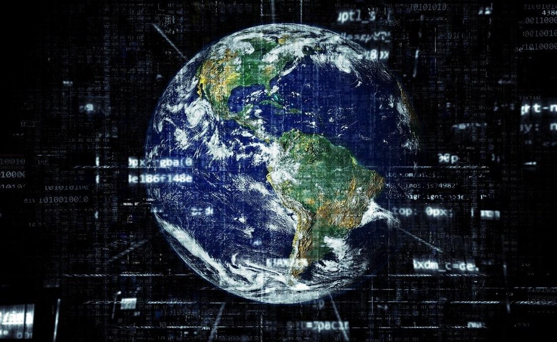 Ziemia symbolicznie otoczona siecią internetową