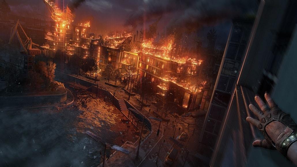 Screen z gry Dying Light 2, płonące miasto