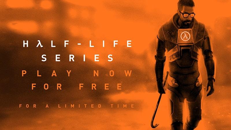 Grafika promująca możliwość zagrania w gry z serii Half Life za darmo