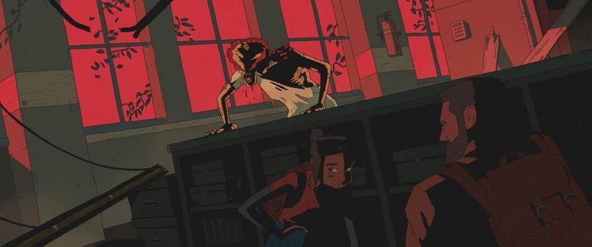 Kadr z anulowanej animacji The Last Of Us - Joel i Elli ukrywają się przed Klikaczek