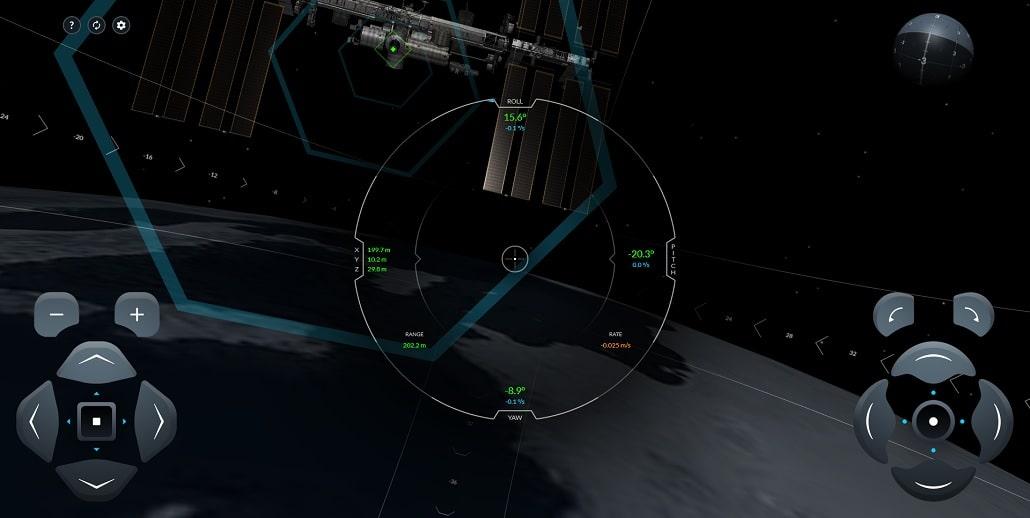 Screen z Symulatora dokowania SpaceX Crew Dragon do ISS