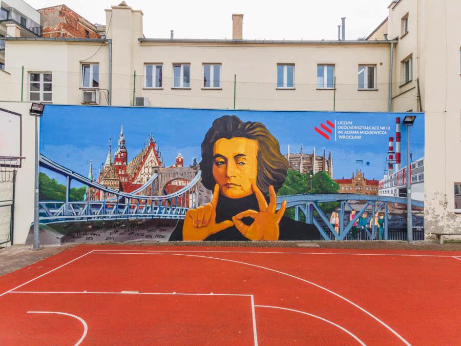 Adam Mickiewicz mural Wrocław