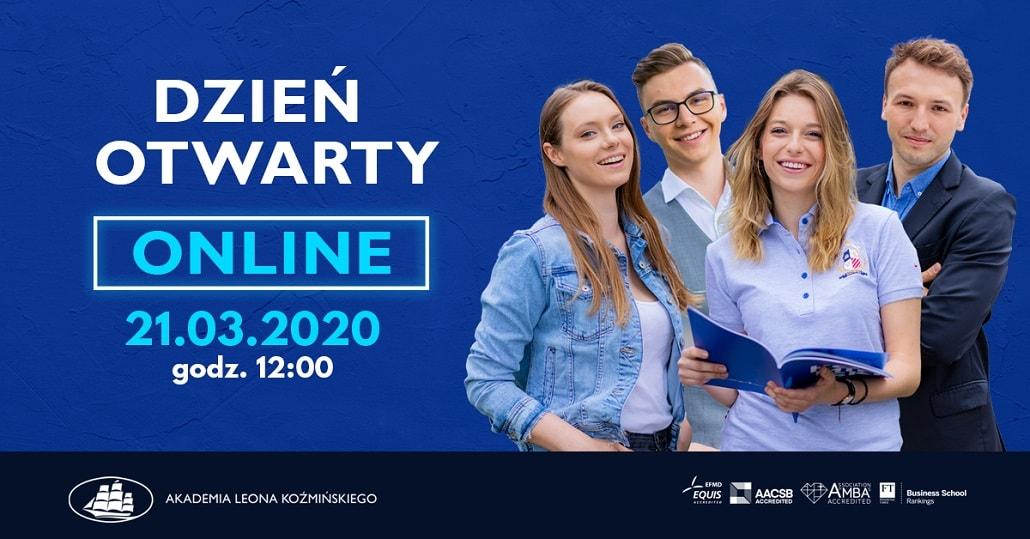 Akademia Loena Koźmińskiego dzień otwarty onlinemarzec 2020 plakat baner