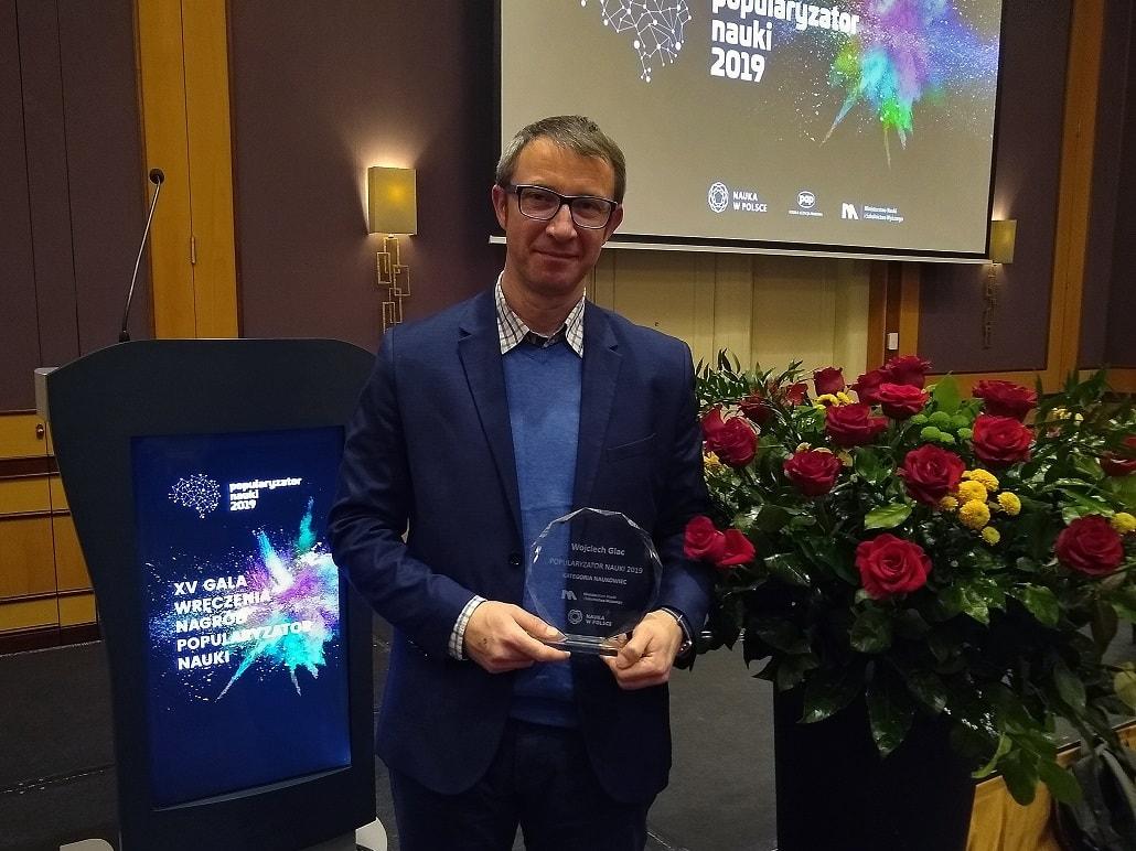 Dr Wojciech Glec z nagrodą popularyzator Nauki 2019