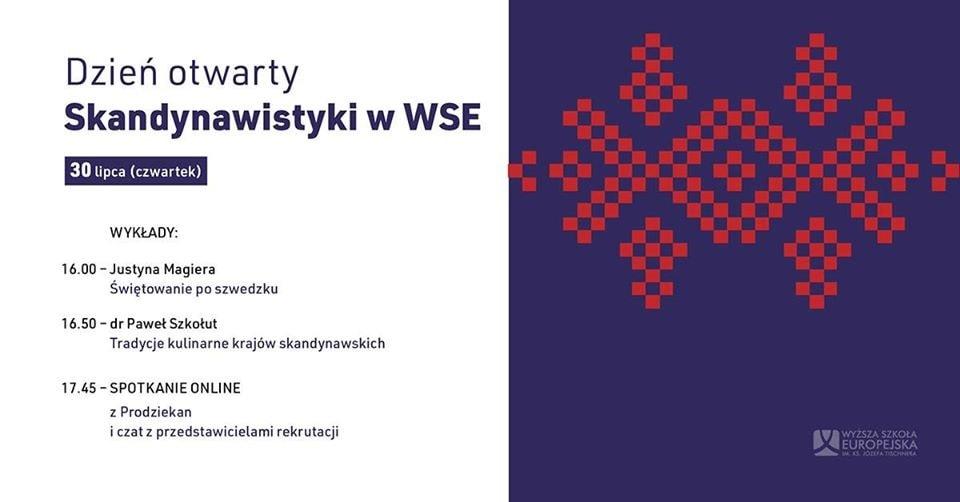 Baner informujący o dniach otwartych skandynawistyki w WSE w Krakowie