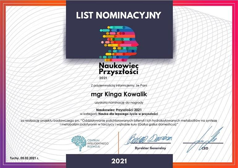 List nominacyjny dla mgr Kingii Kowalik - Naukowiec Przyszłości 2021