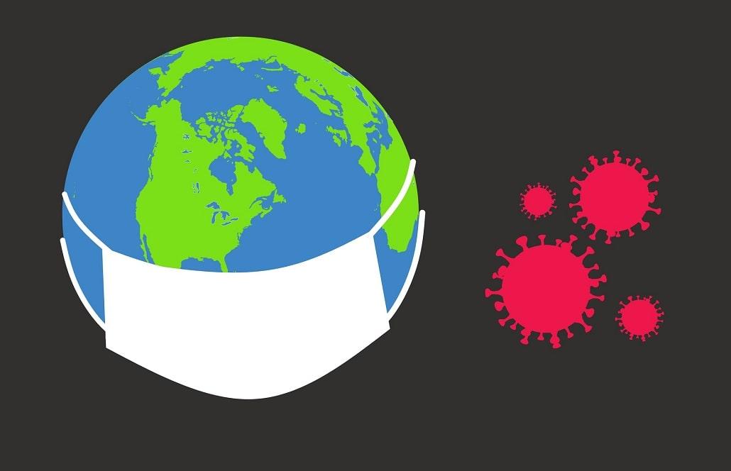 Grafika ziemi i koronawirusa