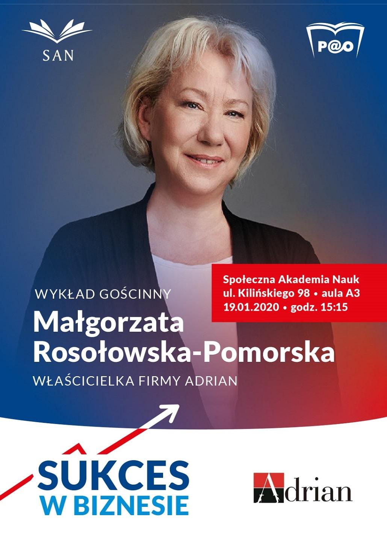 Spotkanie z Małgorzatą Rosłowską-Pomorską w Społecznej Akademii Nauk w Łodzi - plakat