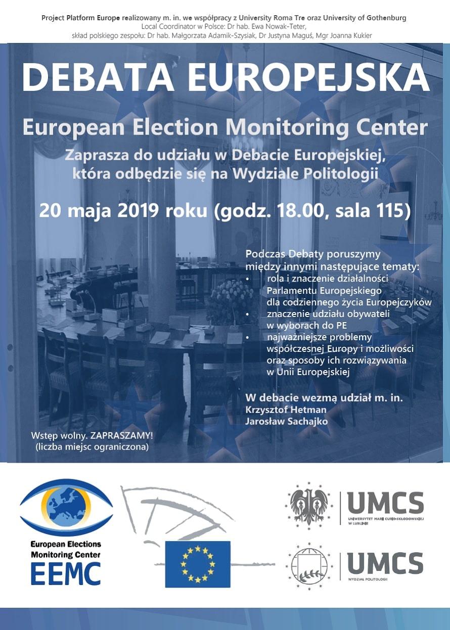 Debata Europejska na Wydziale Politologii UMCS plakat