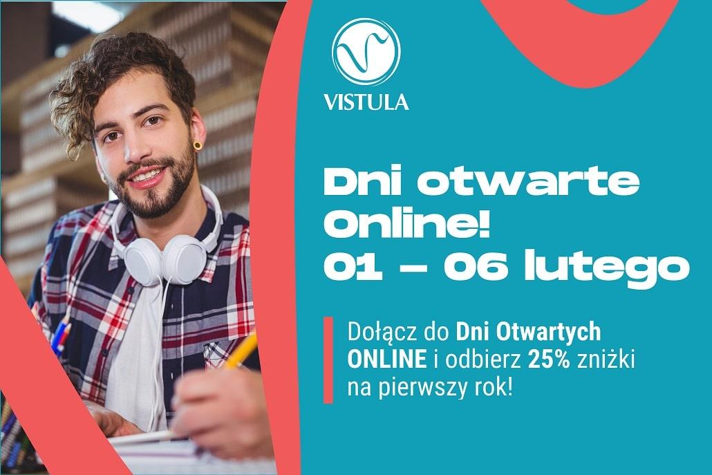 Plakat informujący o Dniach otwartych Uczelni Vistula w lutym 2021