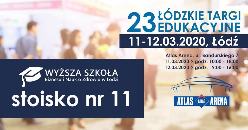 Łódzkie Targi Pracy Wyższa Szkoła Biznesu i Nauk o Zdrowiu 2020 plakat baner
