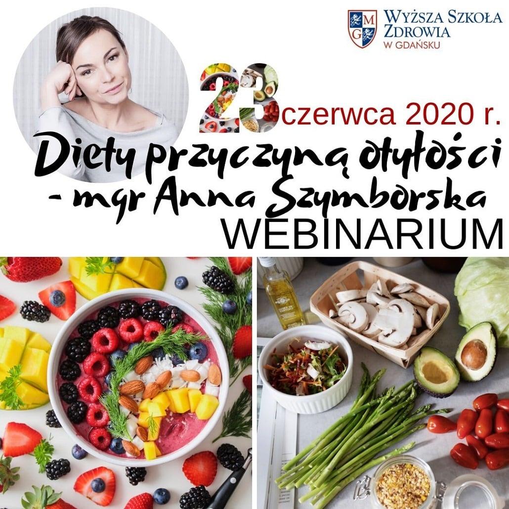 Wyższa Szkoła Zdrowia w Gdańsku - Webinarium o diecie czerwiec 2020 plakat