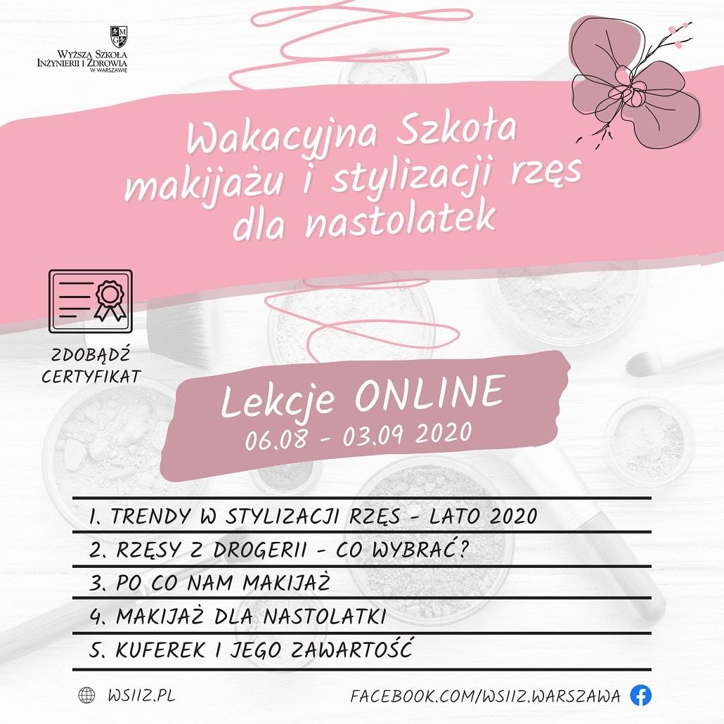 Baner informujący o lekcjach online WSIiZ w Warszawie o makijażu i stylizacji