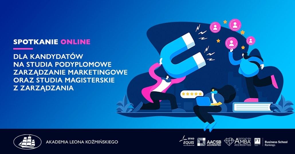 Baner informujący o dniu otwartym online w ALK kierunku Zarządzanie