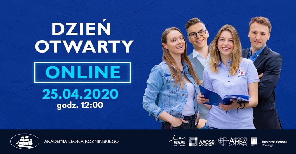 Baner informujący o dniu otwartk w Akademii Leona Koźmińskiego 2020 w Kwietniu