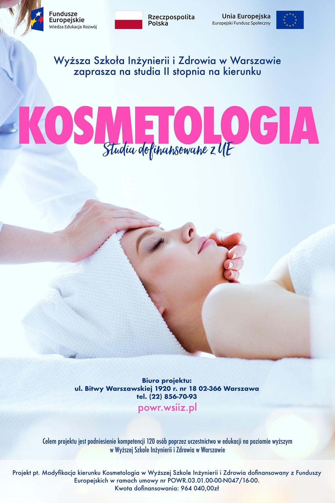 Plakat reklamujący kierynek studiów kosmetologia