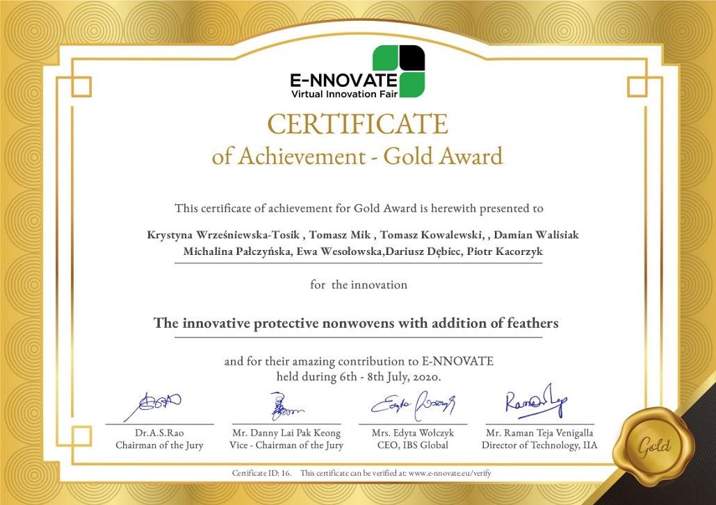 Certyfikat E-NNOVATE dla Uniwersytetu Rolniczego w Krakowie