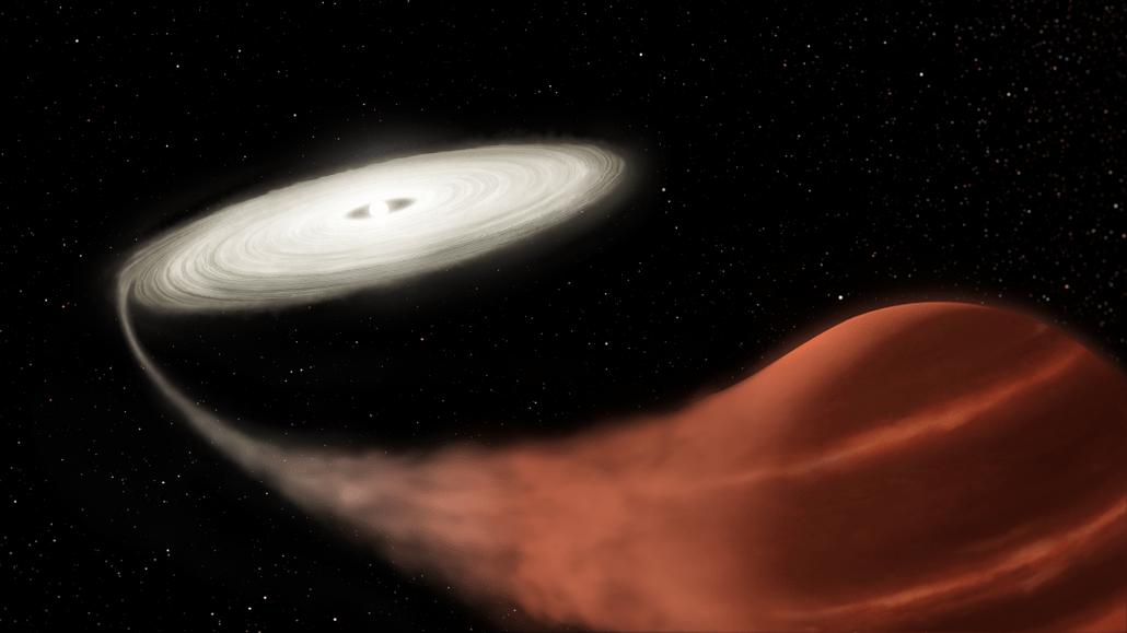 Biały karzeł pochłania brązowego Karła - wizualizacja dwarf nova system