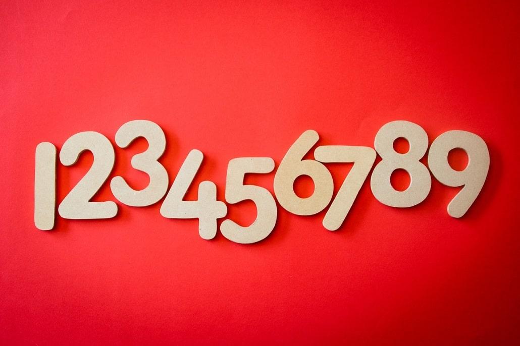 Cyfry numery od 1 do 9