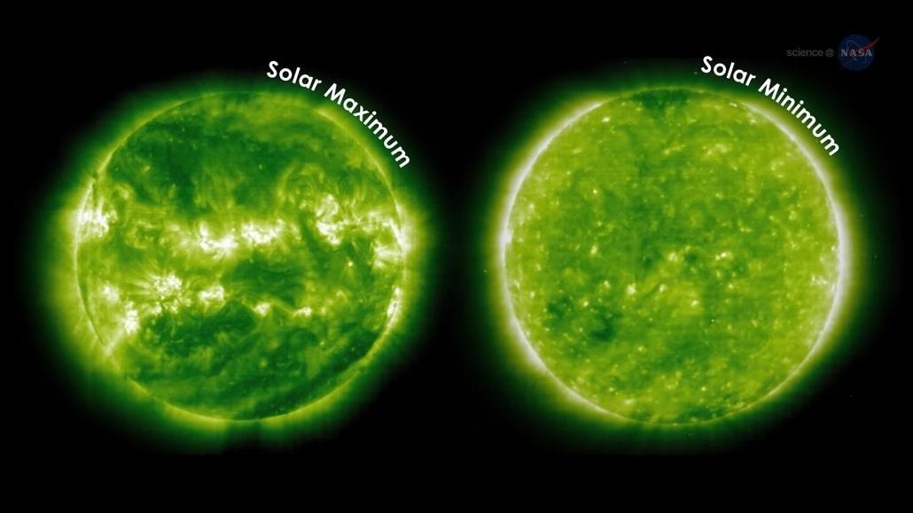 Zdjęcia słońca przedstawiające zmiany na tarczy słońca w trackie minimum słonecznego