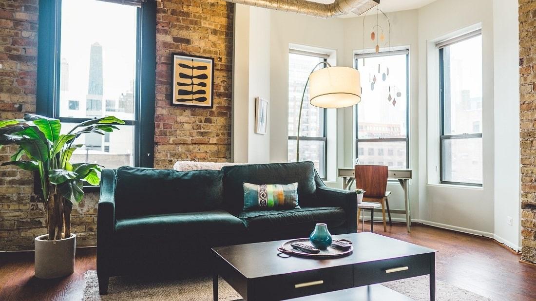 Ładny salon z kanapą, kwiatkiem i stolikiem