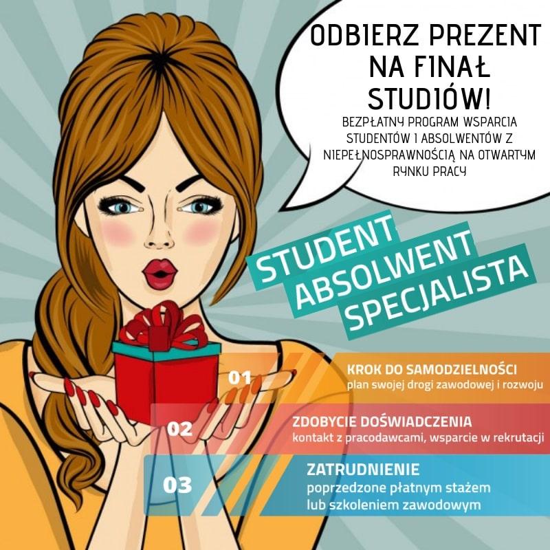 Inkubator dla niepełnosprawnych studentów plakat