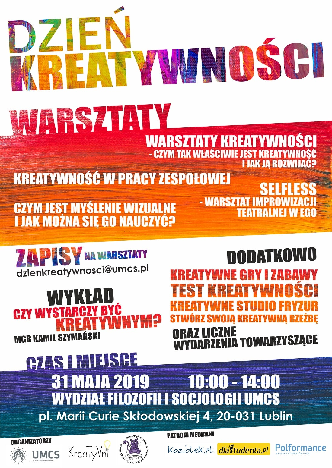 Dzień kreatywności UMCS 2019 plakat