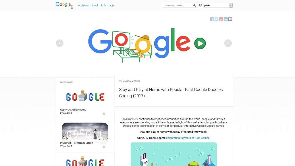 Strona archiwum google doodle
