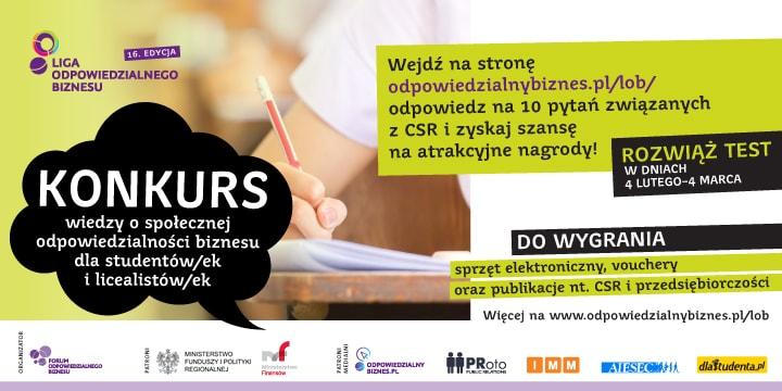 Baner informujący o konkursie wiedzy o CSR 2020