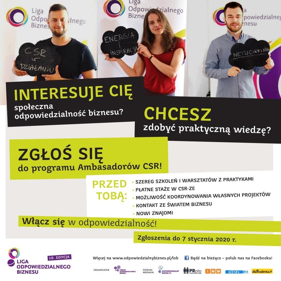 Plakat promujący Ligę Odpowiedzialnego Biznesu 2019