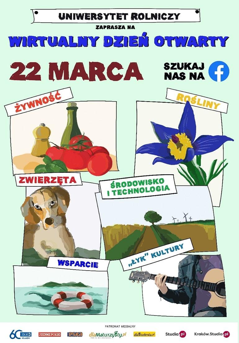 Wirtualny Dzień Otwarty Uniwersytetu Rolniczego w Krakowie Marzec 2021 - plakat