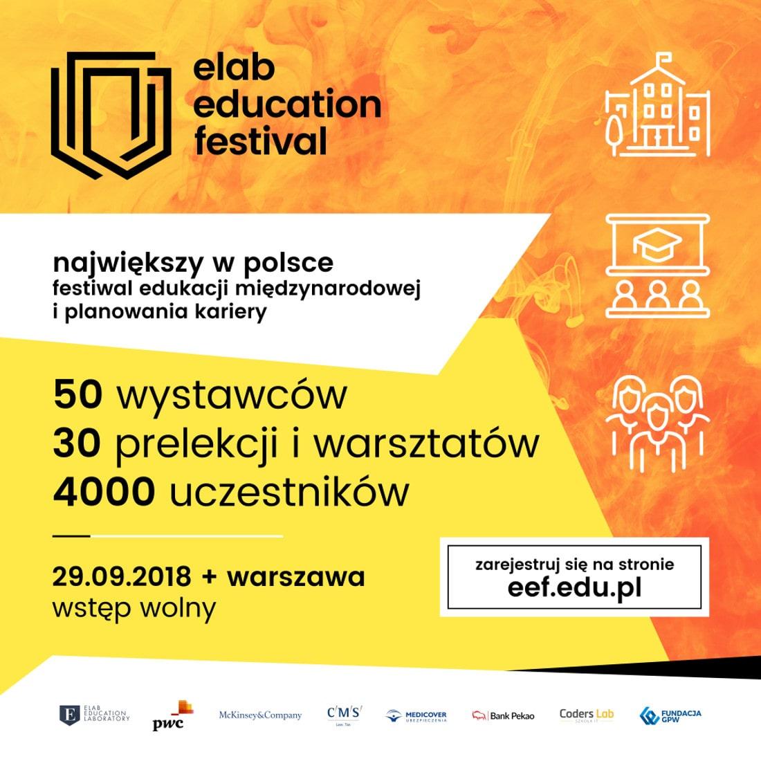 Piąta edycja Elab Education Festival odbędzie się 29 września 2018 roku.