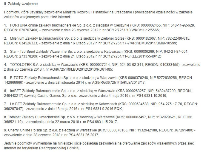bukmacherzy legalni w Polsce