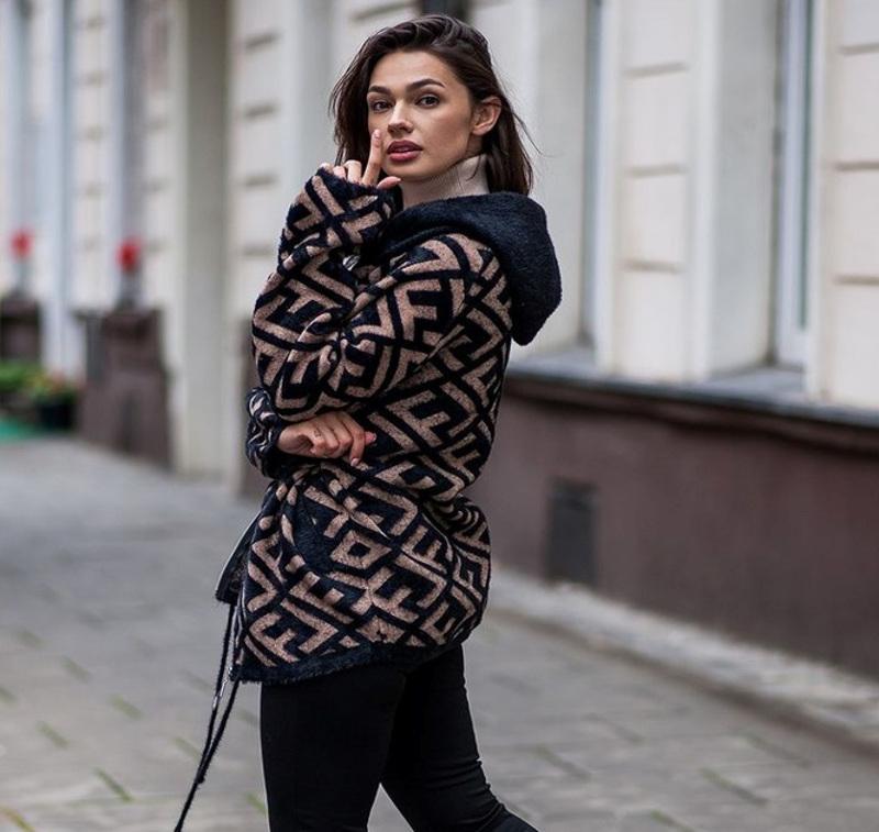 kurtka przejściowa damska ze wzorem