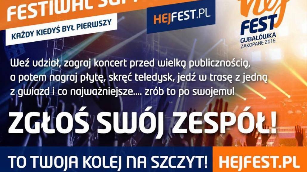 Hej Fest 2016 - konkurs supportów