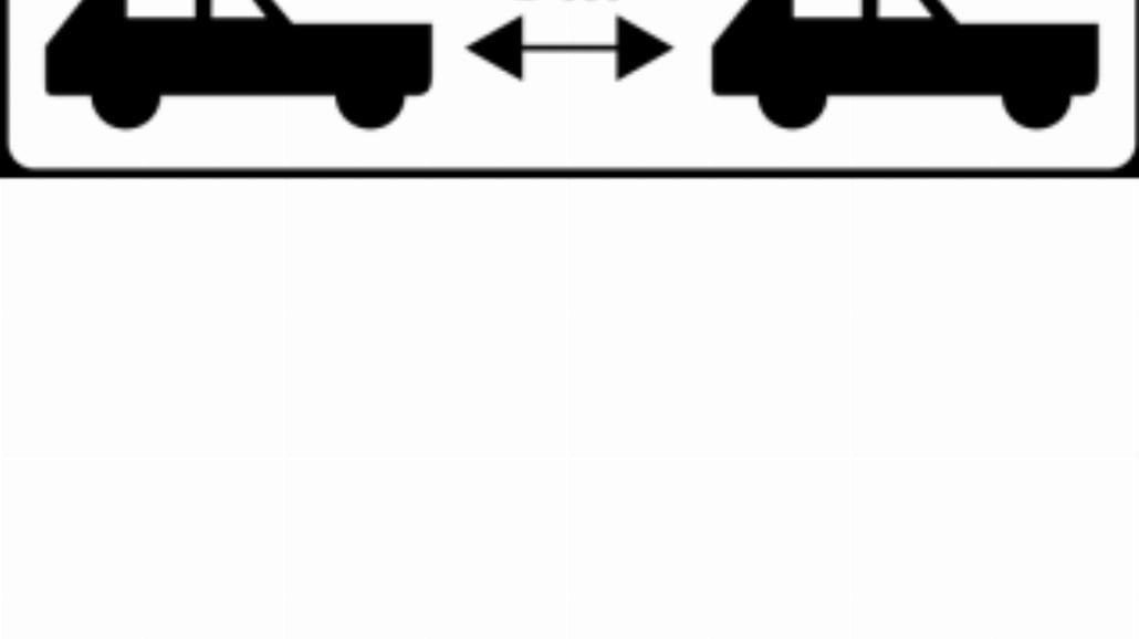 """T-32 """"tabliczka wskazująca minimalny odstęp od"""