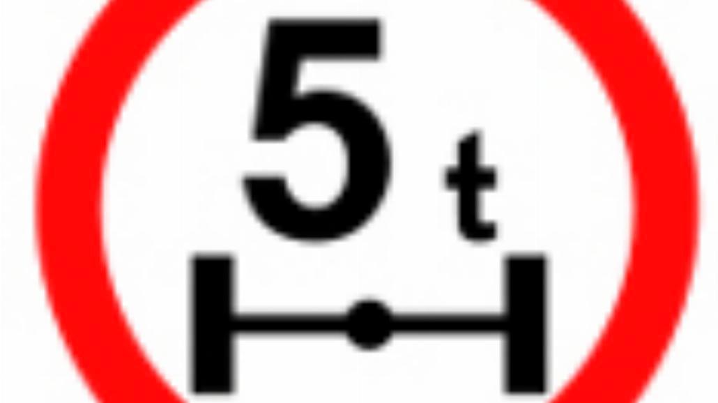 """B-19 """"zakaz wjazdu pojazdów o nacisku osi większym"""
