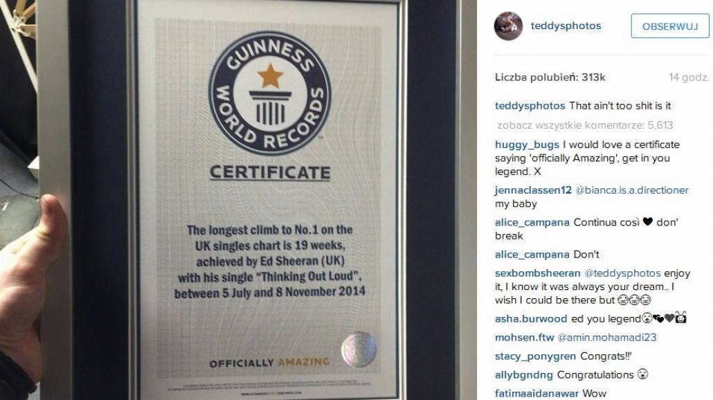 Ed Sheeran pobił rekord Guinnessa! [WIDEO]