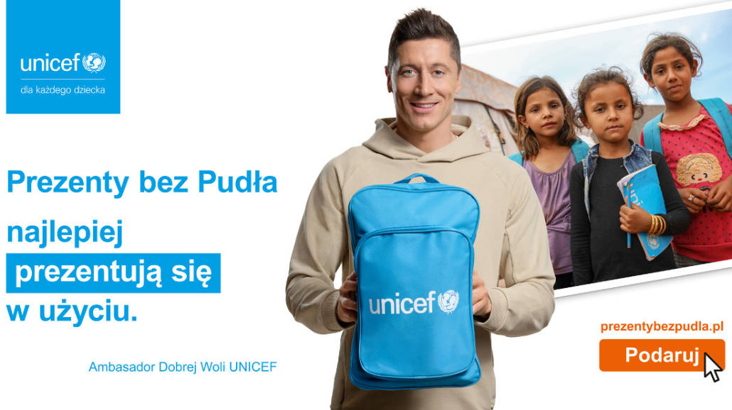 Robert Lewandowski wspiera UNICEF Polska