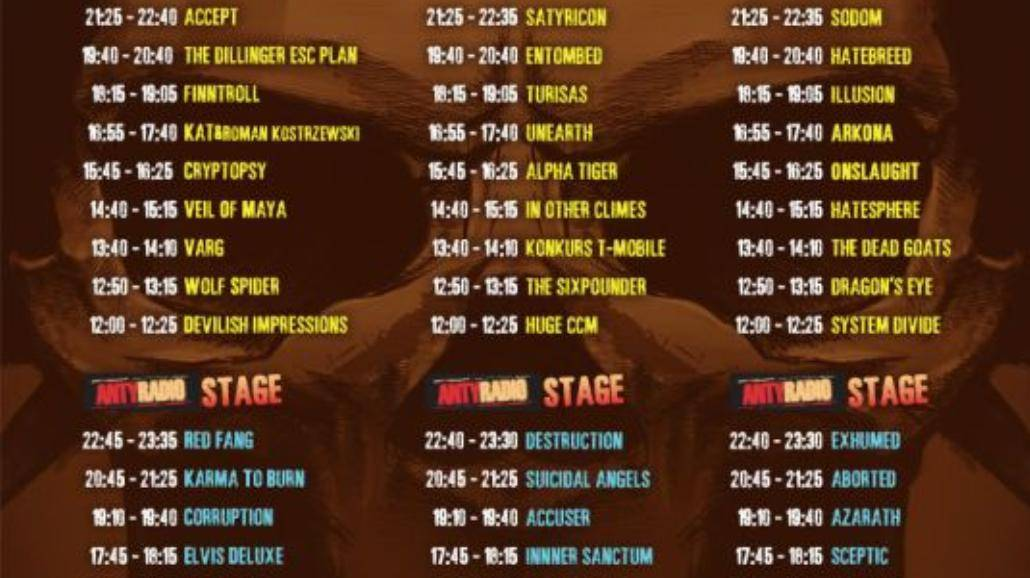 MetalFest: rozpiska czasowa